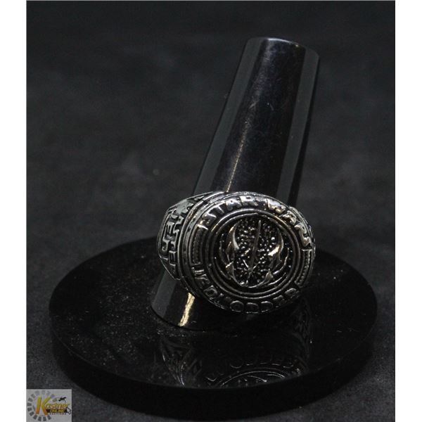 """SILVER PLATED """"STAR WARS"""" JEDI ORDER MENS RING"""