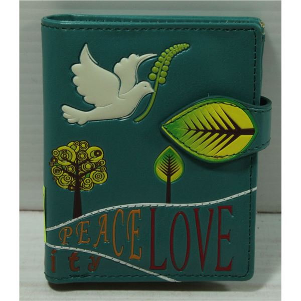 PEACE AND LOVE POCKET SIZE WALLET: TEAL