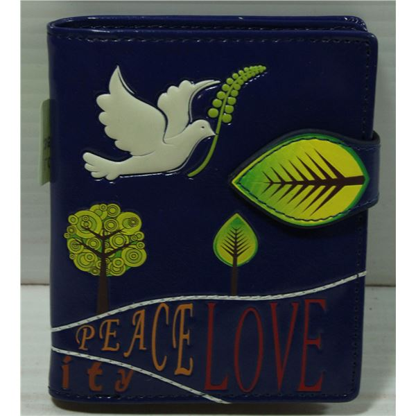 PEACE AND LOVE POCKET SIZE WALLET: DARK BLUE
