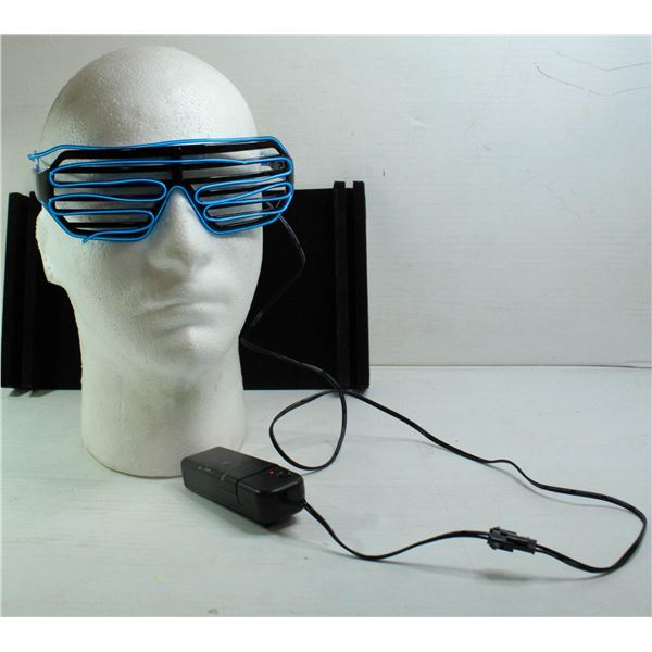 LIGHT UP RAVE SUNGLASSES BLUE WITH BATTERY