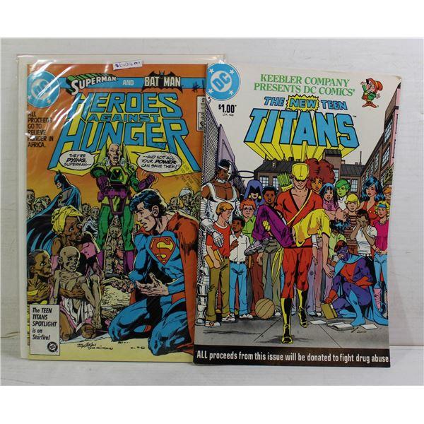 2 X FOR CHARITY COMICS SUPERMAN BATMAN TITANS