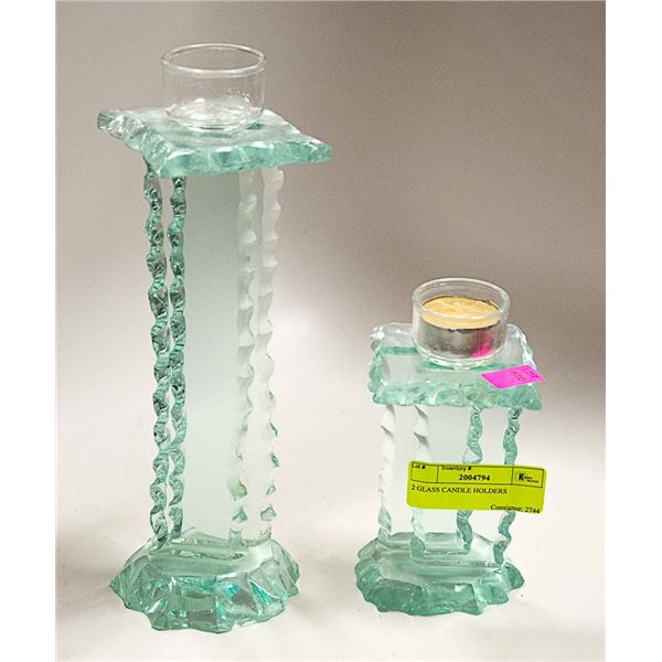 2 GLASS CANDLE HOLDERS