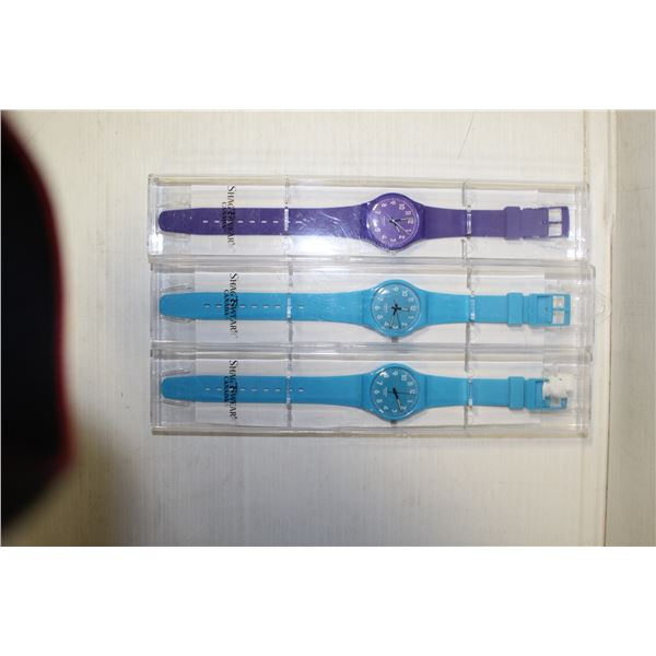 SET OF 3 NEW SHAGWEAR WATCHES IN LONG CASES