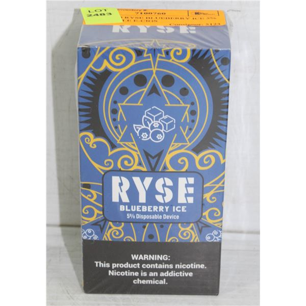 BOX W/ 10 RYSE BLUEBERRY ICE 5% DISPOSABLE E-CIGS