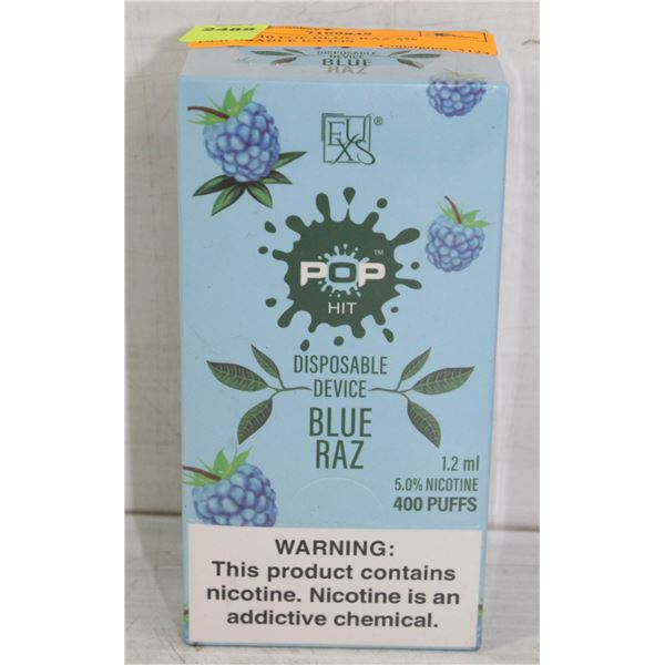 BOX W/10 POP BLUE RAZ 5% DISPOSABLE E-CIGS