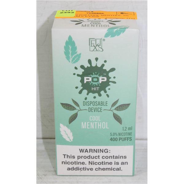 BOX W/10 POP COOL MENTHOL 5% DISPOSABLE E-CIGS