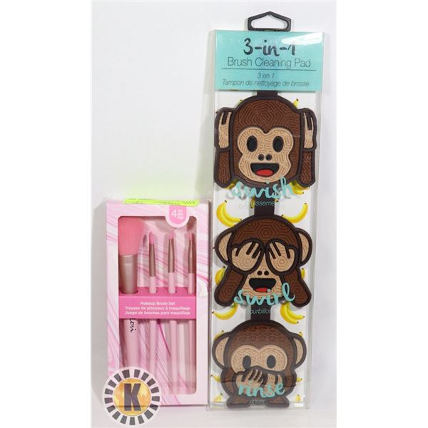 NEW MAKEUP BRUSH CLEANER WITH BRUSHES PINK
