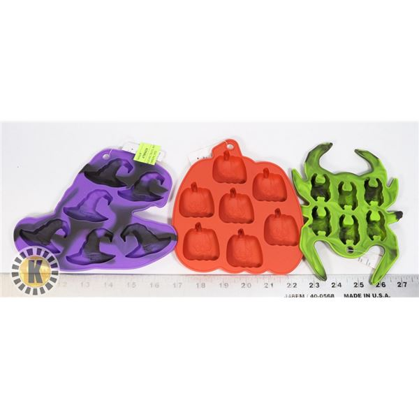 3 NEW SILICONE TRAYS, WITCHES HATS, PUMPKINS, SPID