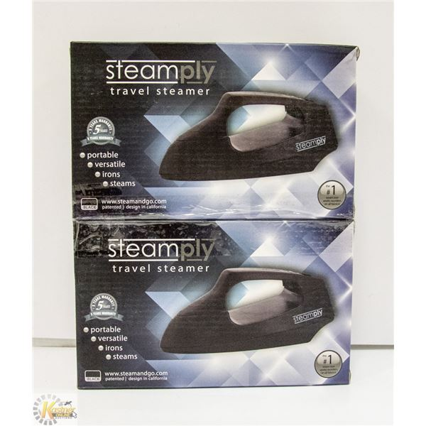 2 STEAMPLY BLACK TRAVEL STEAMERS