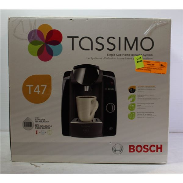 TASSIMO T47 BOSCH SINGLE CUP BREWING SYSTEM