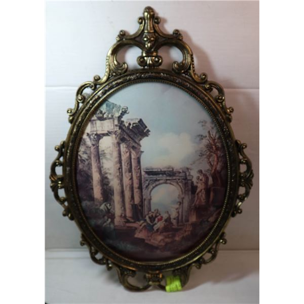 """ANTIQUE ART 14"""" X17"""" FROM ITALY METAL FRAME BUBB"""
