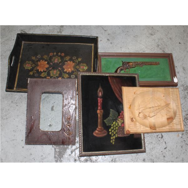 VINTAGE SERVING TRAY AND ASSORTED PICTURES