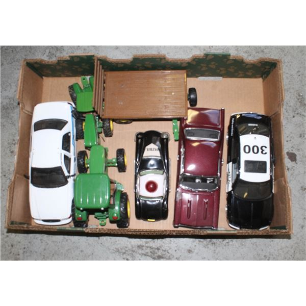 FLAT OF MODEL POLICE CARS AND TRACTORS