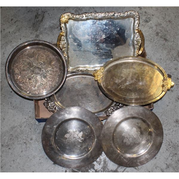 FLAT OF SILVER TRAYS
