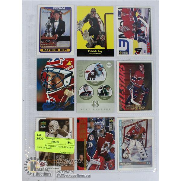9 CARD PATRICK ROY NHL HOCKEY.  HALL OF FAME