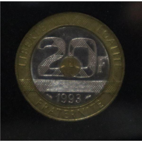 WORLD'S FIRST TRI-METALLIC CIRCULATION COIN, FRANC