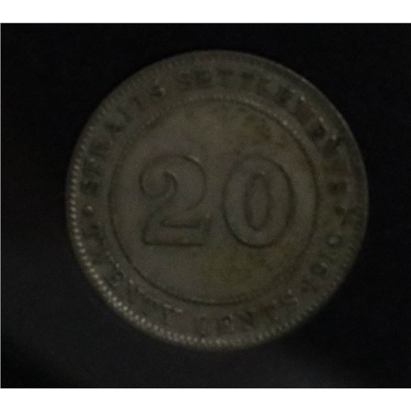 1910 STRAITS SETTLEMENTS SILVER 20 CENT COIN