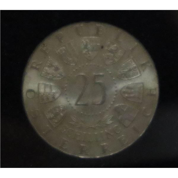 AUSTRIA 1957 SILVER 25 SCHILLING COIN