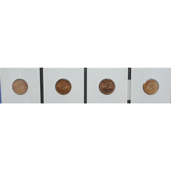 LOT OF 4 EARLY UNCIRCULATED CANADA CENTS 1959-62