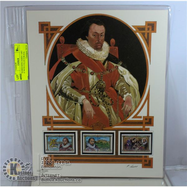 UNFRAMED KING JAMES I ART PRINT WITH COLLECTOR STA