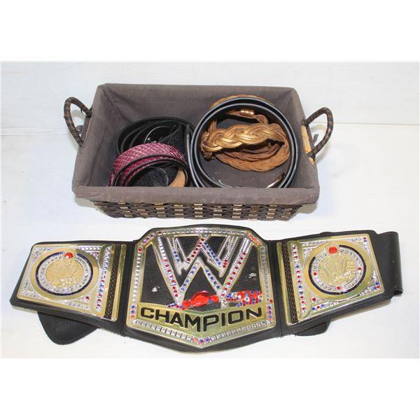 BASKET OF LEATHER BELTS & WWE FUN BELT