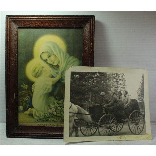 2 OLD PICTURES - ONE FRAMED - ONE MARKED 1937