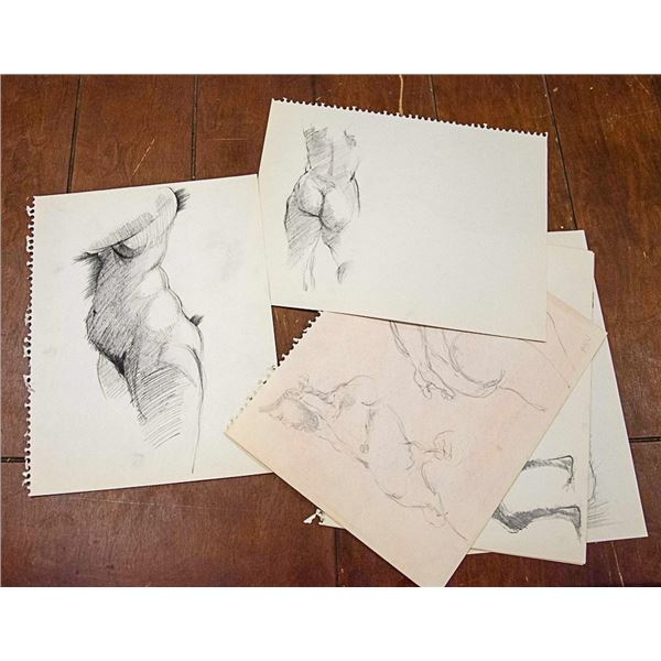 LOT OF 10 ASSORTED SIGNED SKETCHES UNKNOWN ARTIST