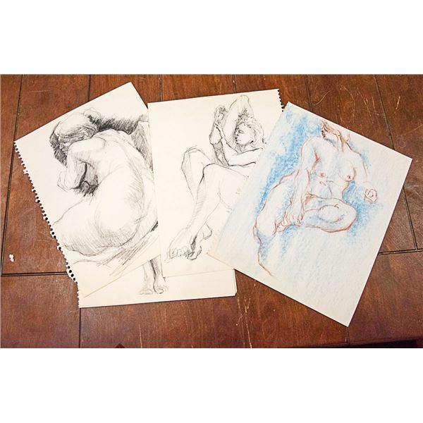 LOT OF 12 ASSORTED SIGNED SKETCHES UNKNOWN ARTIST