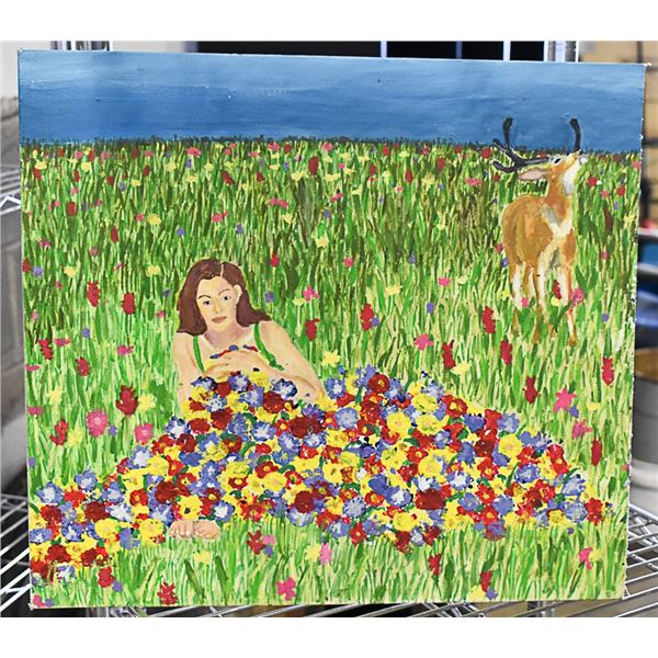 BUCK AND LADY IN MEADOW ON CANVAS