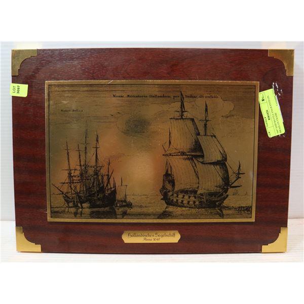 1647 SHIP BATTLE ENGRAVED ON BRASS ON FRAME
