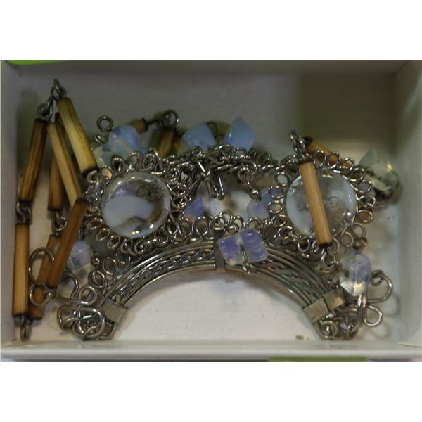 MEXICAN MOONSTONE SILVER FILLIGREE NECKLACE