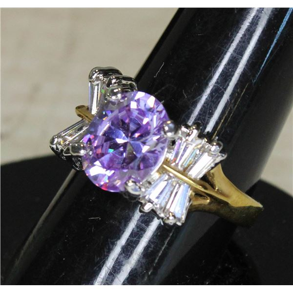 GOLD PLATED RING WITH PURPLE AND WHITE STONES