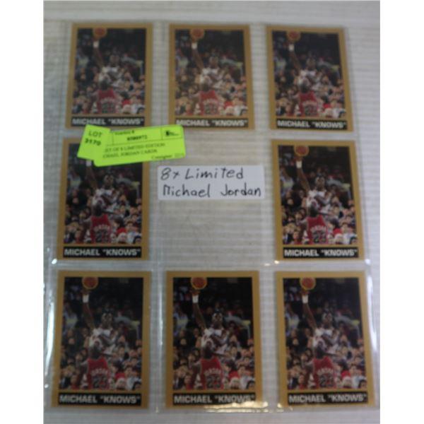 SHEET OF 8 LIMITED EDITION MICHAEL JORDAN CARDS
