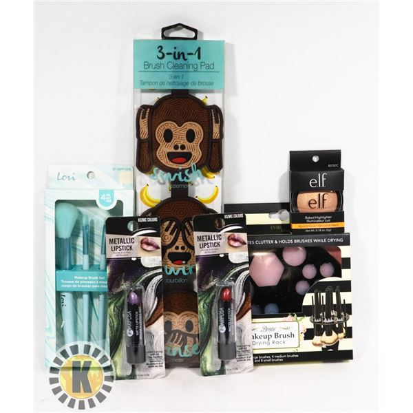 NEW ASSORTED MAKE UP ITEMS INCLUDES 3-IN-1 BRUSH