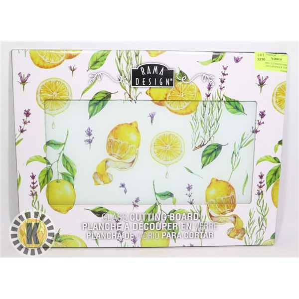 NEW GLASS CUTTING BOARD LEMON AND LAVENDER THEME