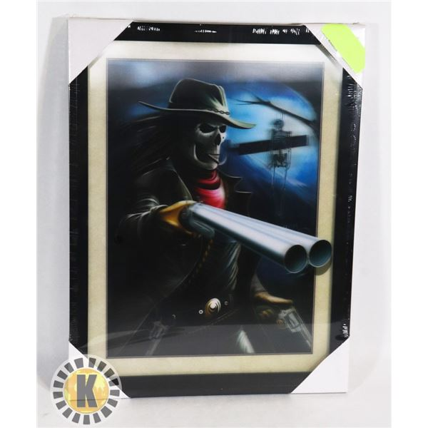 NEW FRAMED GUNSLINGER SKELTON HOLOGRAPHIC PICTURE
