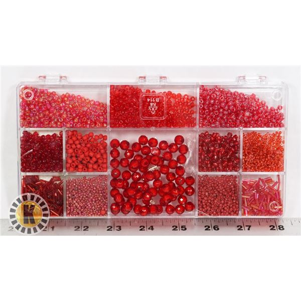 NEW BOX OF BEADS COLOR RED
