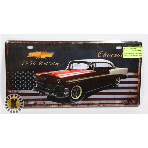 NEW VINTAGE LOOK CHEVY NOVELTY PLATE OR WALL ART