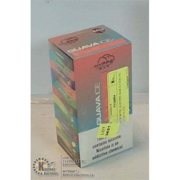 BOX WITH 10 HYPPE BAR E-CIGS 5% GUAVA ICE