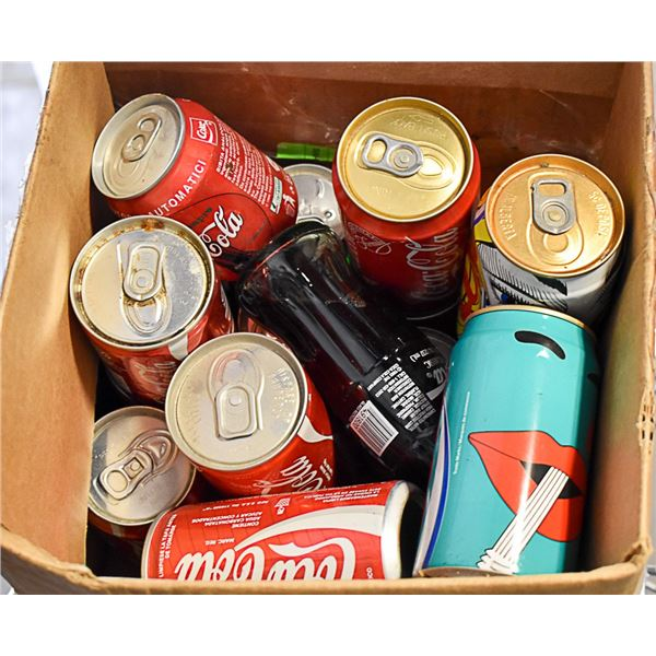 BOX OF ASSORTED VINTAGE COLLECTIBLE COKE-OPEN & UN