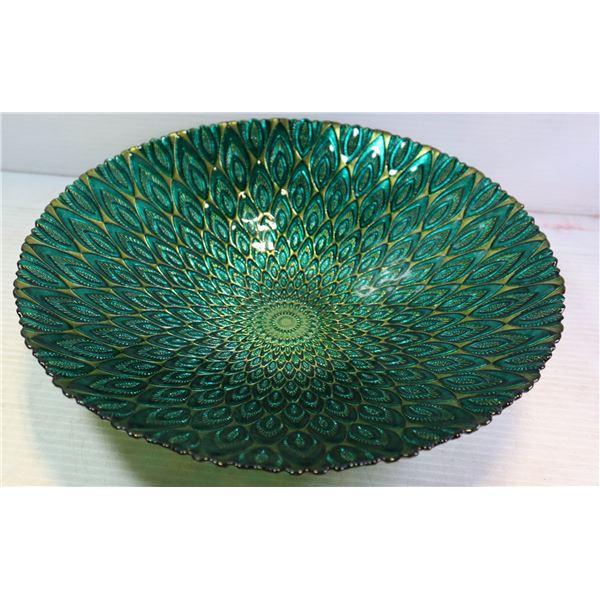 LARGE PEACOCK DESIGN ART GLASS BOWL