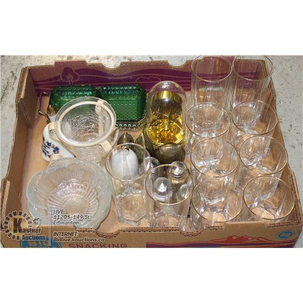 FLAT OF ASSORTED GLASSWARE.