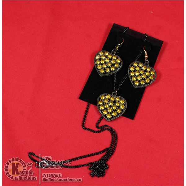 DEEP YELLOW HEART RHINESTONES NECKLACE AND