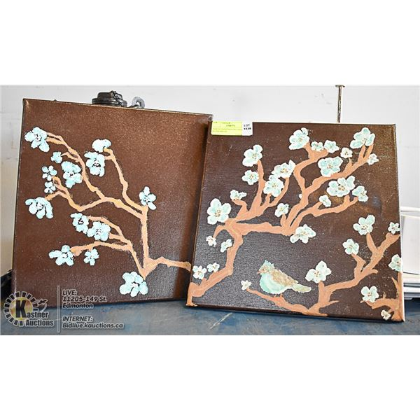 PAIR OF PAINTINGS ON CANVAS OF BLOSSOMS ON