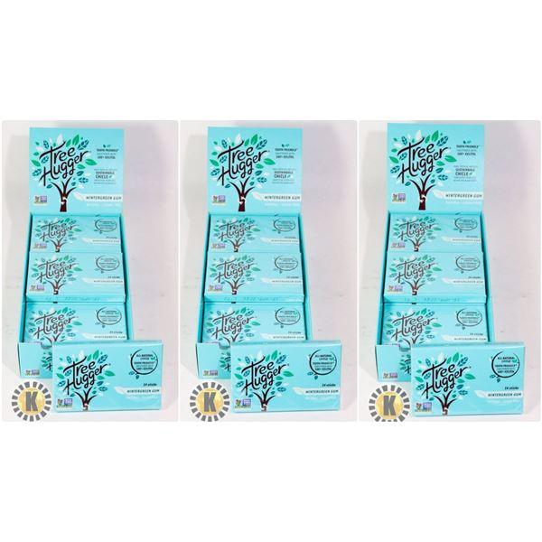 3 BOXES OF TREE HUGGER WINTERGREEN GUM- 12 PACKS