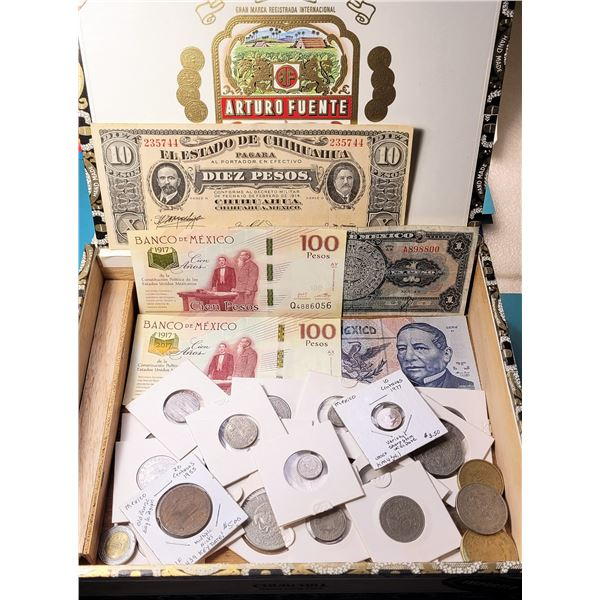 11) CIGAR BOX FILLED WITH MEXICAN COINS