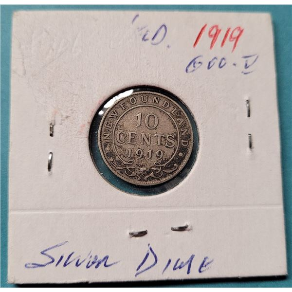 23) 1919 SILVER NEWFOUNDLAND DIME