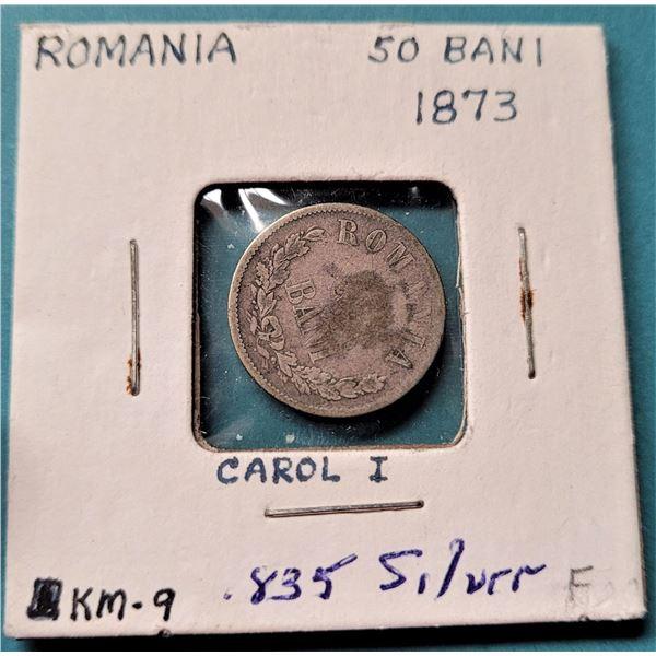 24) 1873 ROMANIA 50 BANI COIN