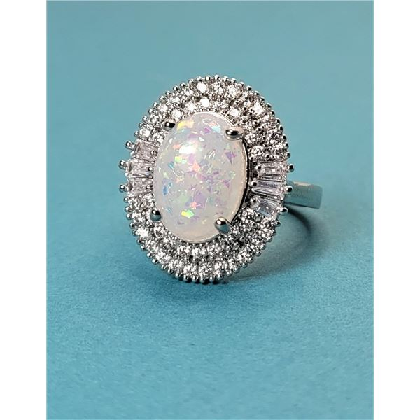 7) OPAL AND CRYSTAL RING SIZE 8