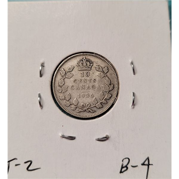 21) 1936 CANADIAN SILVER DIME